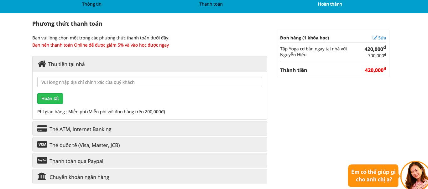 Hình thức thanh toán khóa học online Unica