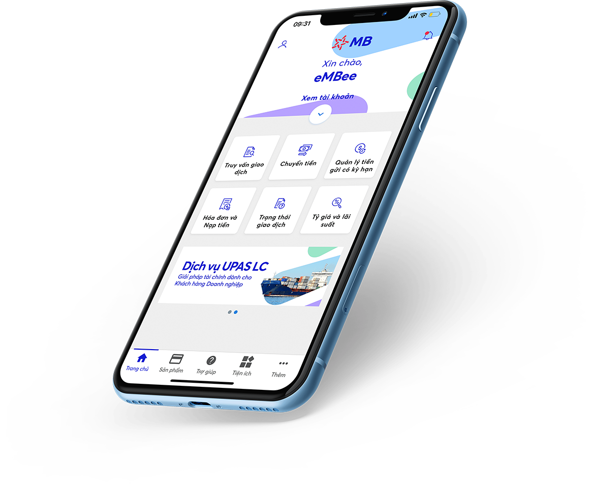 Giao diện App MBBank