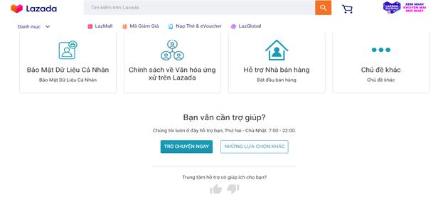 Chat trực tuyến với nhân viên chăm sóc khách hàng Lazada