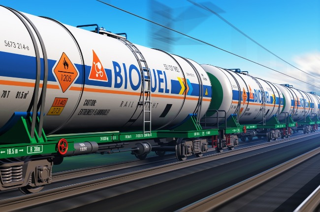 Railcars transporting biodiesel