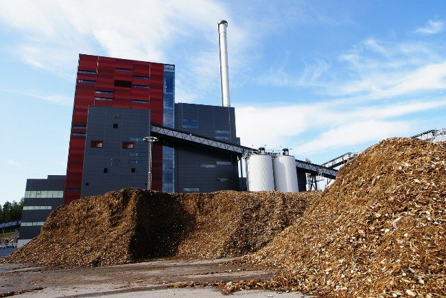 Biomass power plant with wood chip fuel