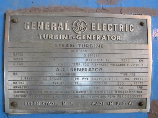 Nameplate for a generator with a maximum capacity of 9,375 kW