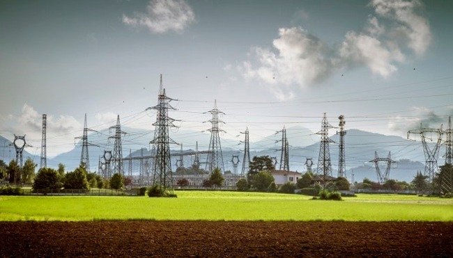 An electric transmission substation connected to multiple transmission lines