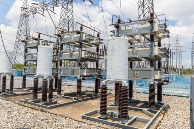 Capacitors on racks in a distribution substation