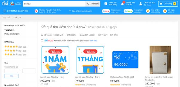 Tìm gói/ sản phẩm của Tiki NOW