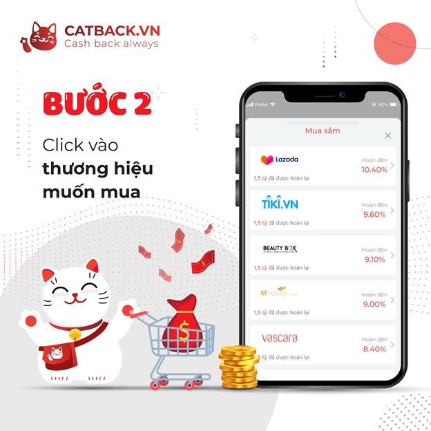 Giao diện ứng dụnghoàn tiền trực tuyến Catback thân thiện với người dùng