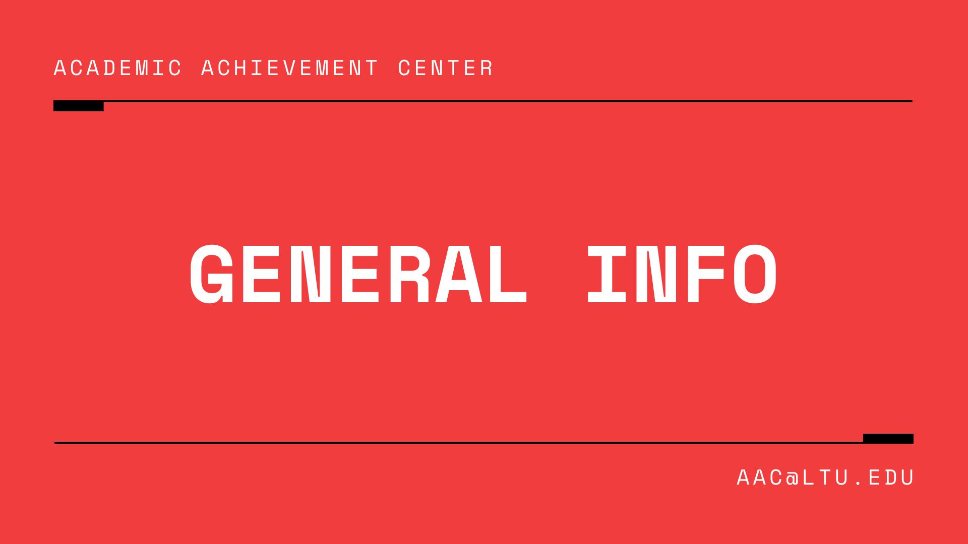 Academic Achievement Center General Info