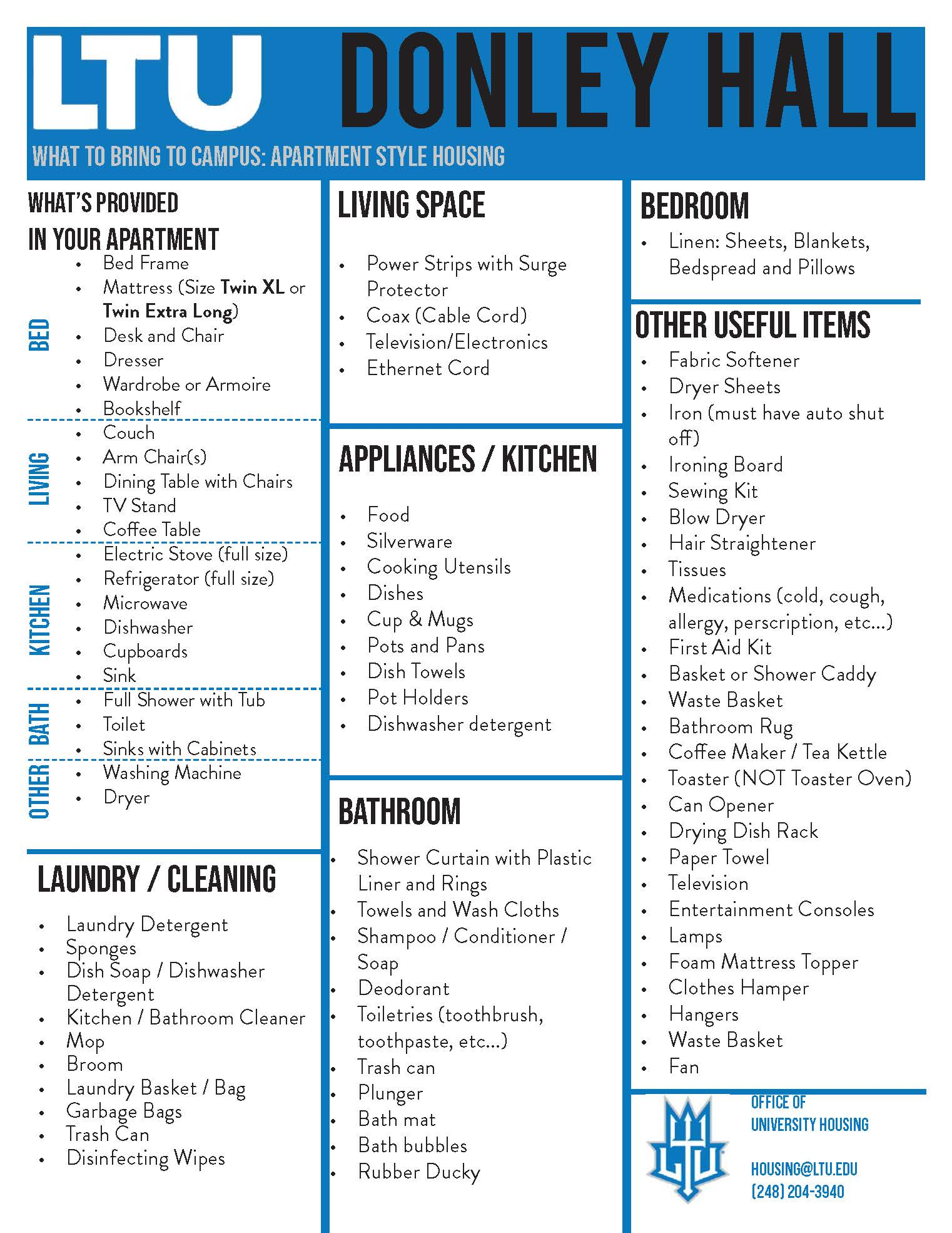 What to Bring to Campus List_Donley Hall