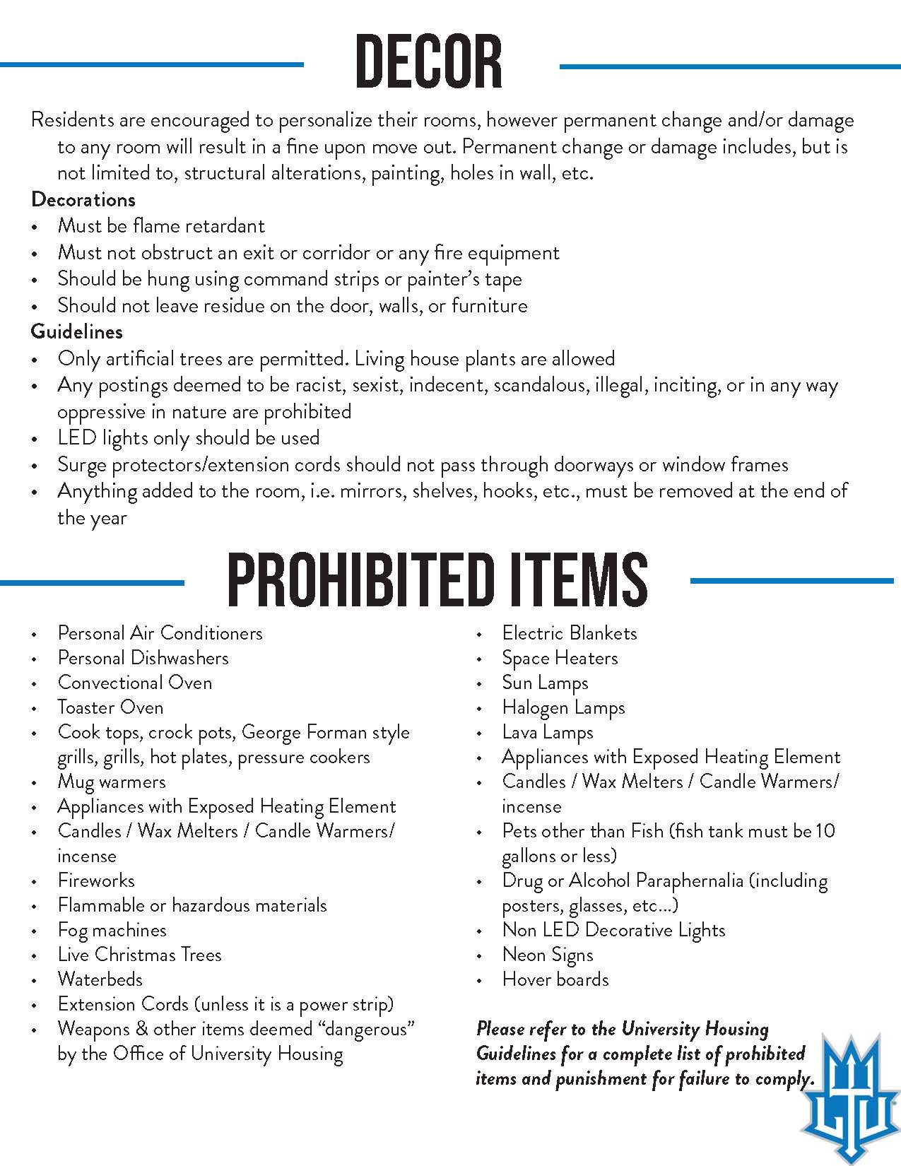 East Hall - Decor / Prohibited Items