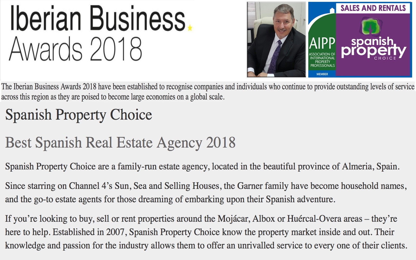 Iberian Business Award Winners 2018 - Spanish Property Choice - Best Spanish Real Estate Agent 2018