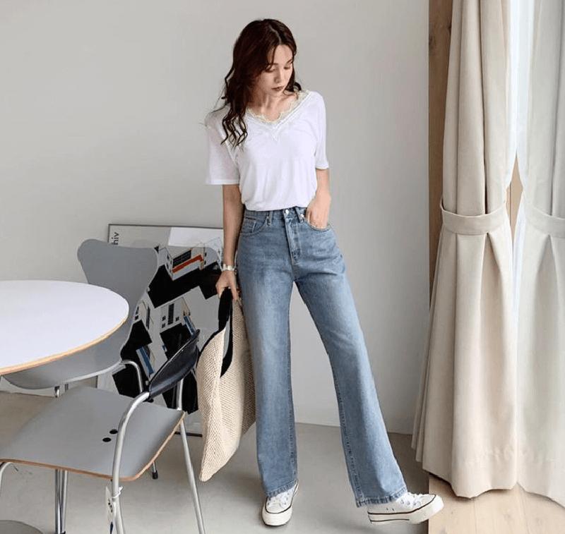 cách phối đồ quần culottes jeans và áo thun