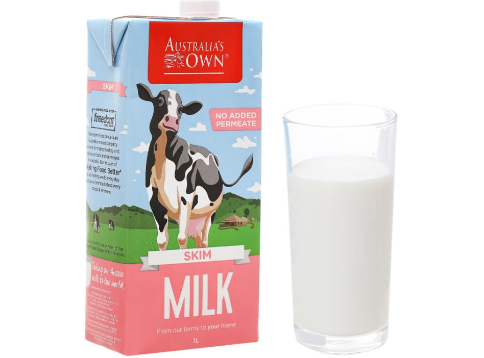 Sữa tươi không đường cho bà bầu tiệt trùng Australia's Own tách béo 1 lít