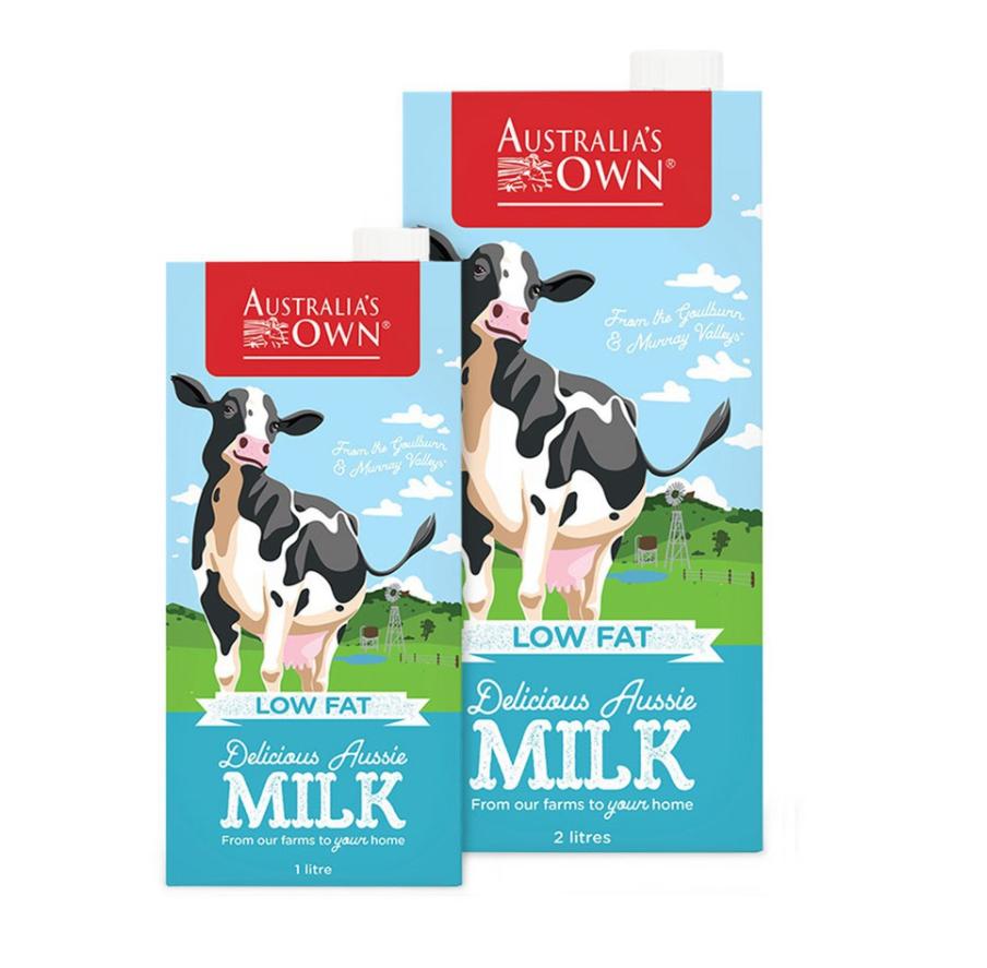 Sữa tươi tiệt trùng Úc Australia's Own ít béo Low Fat Delicious Aussie Milk